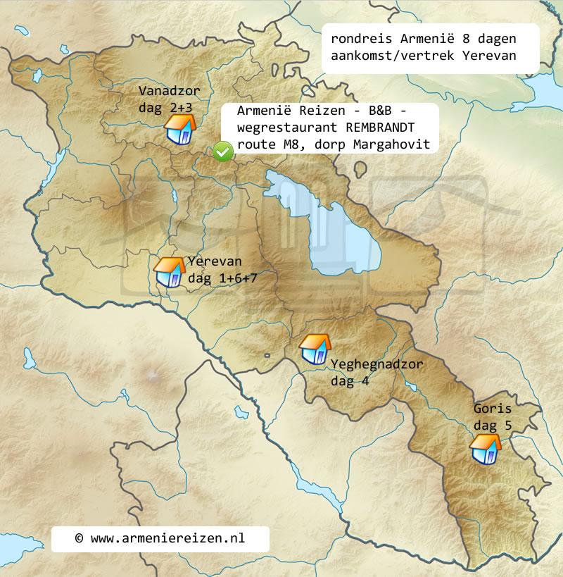 rondreis kaart Armenie Yerevan 8 dagen